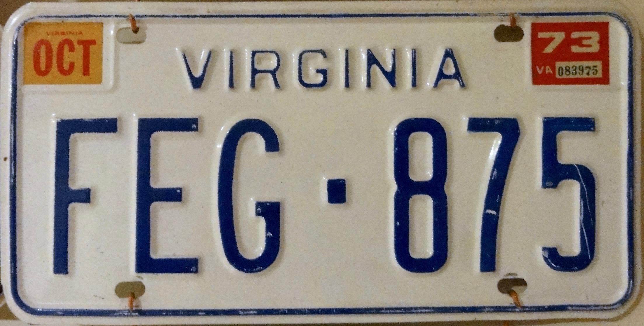 Virginia License Plates (1906-)